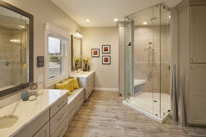 Large Bathroom with Window Bench