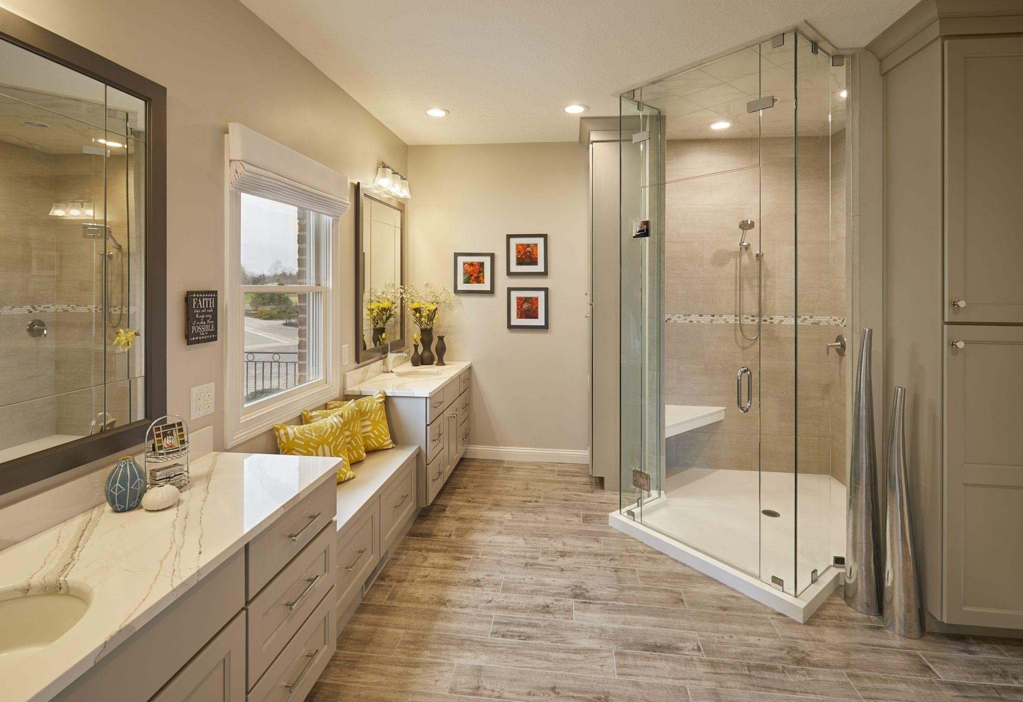 Large Bathroom with Window Bench